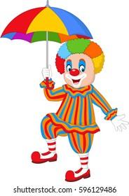 Cartoon funny clown holding an umbrella