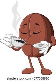 Cartoon funny Coffee bean drinking coffee