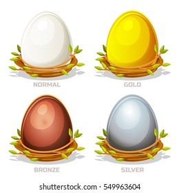 Cartoon funny colored Eggs in birds nest of twigs. Normal, gold, silver and bronze