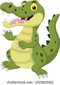 Cartoon funny crocodile isolated on white background