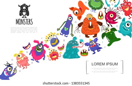 Cartoon Funny Cute Monsters Concept