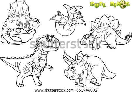 Cartoon Funny Dinosaurs Set Images Stock Vector Royalty Free 661946002