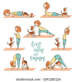 Cartoon funny dog beagle with girl doing yoga position. Surya Namaskara. San Salutation. Lettering Keep calm and Om-m. Vector illustration