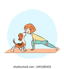 Cartoon funny dog beagle with girl doing yoga pose. Surya Namaskara. San Salutation. Vector illustration