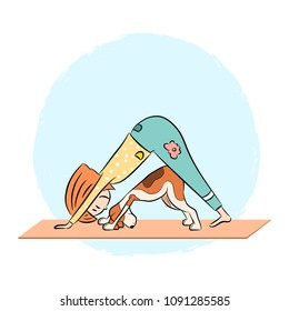 Cartoon funny dog beagle with girl doing yoga pose. Surya Namaskara. San Salutation. Vector illustration