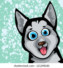 Cartoon funny dog (husky) with blue eyes on a spotted background