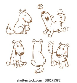 Cartoon funny dogs set. Vector contour image. Cute  puppy in different poses.