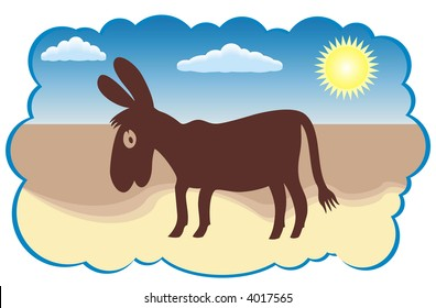 Cartoon funny donkey silhouette isolated on white background