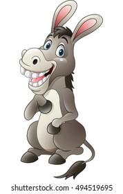 Cartoon funny donkey sitting