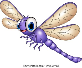 Cartoon funny dragonfly isolated on white background