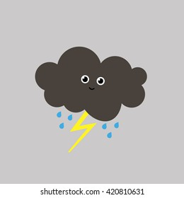 Cartoon funny drawing of grey cloud happy character with rain drops and yellow lightning isolated on grey background / vector eps 10 / icon