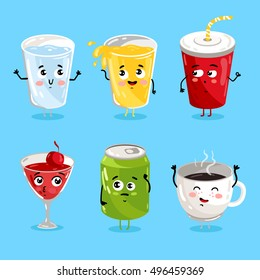 Cartoon funny drink characters isolated vector illustration. Funny drink face icon. Hot and ice drink emoji. Funny juice, laughing coffee. Cartoon emoticon face of cute drink. Cute drink face.