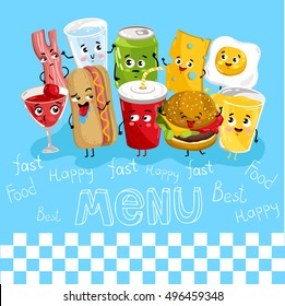 Cartoon funny drink and fast food characters isolated vector illustration. Funny food face icon. Food emoji. Funny juice, laughing hotdog. Cartoon emoticon face of cute food. Funny food concept.