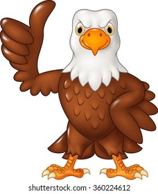Cartoon funny eagle giving thumb up isolated on white background