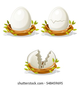 Cartoon funny Egg in birds nest of twigs. Normal, damaged and broken