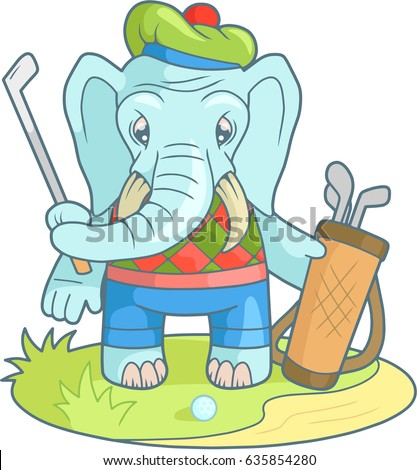 Cartoon Funny Elephant Playing Golf Stock Vektorgrafik Lizenzfrei