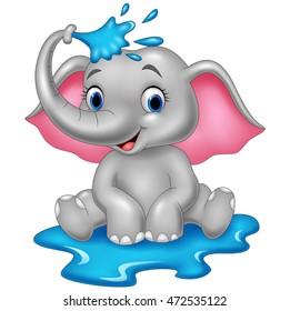 Cartoon funny elephant spraying water