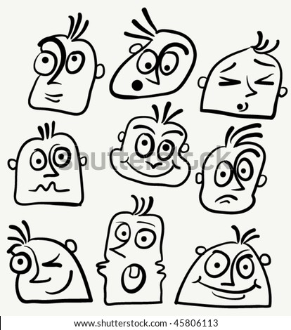 Cartoon Funny Face Stock Vector Royalty Free 45806113
