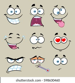 Cartoon Funny Face With Expression Set 2. Vector Collection With Gray Background