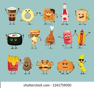 Cartoon funny fast foods characters isolated vector illustration. Funny food face icon. Fast food emoji.  Cartoon emoticon face of fast food.