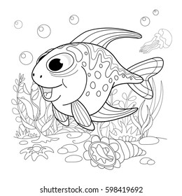 Cartoon funny fish. Underwater life of the sea and ocean. Illustration of a coloring page.