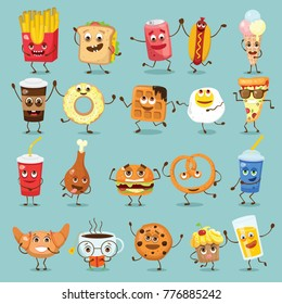 Cartoon funny food characters vector illustrations- waffles, cupcake, croissant, cup of tea and coffee, scrambled eggs, hamburger, hot dog and french fries and other with emotions