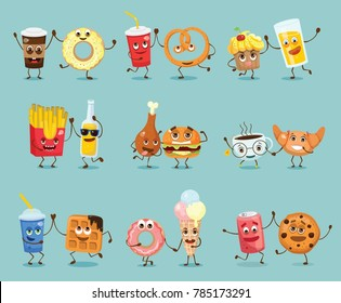 Cartoon funny friends fast food - coockie and can of soda, pizza and juice, fresh and waffle, donut and coffee, pretzel and lemonad, croissant and cup of tea