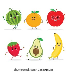 cartoon Funny fruit characters, apple, avocado, banana, Orange, strawberry, watermelon, kawaii characters