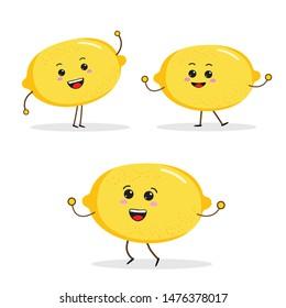 cartoon Funny fruit characters, apple, lamon characters