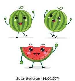 cartoon Funny fruit characters, watermelon, kawaii characters