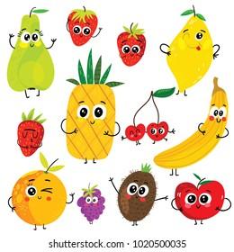 Cartoon funny fruits characters : apple, pear, banana, strawberry, pineapple, orange, cherry, raspberry, kiwi and lemon. Cute vector illustrations isolated on white background.