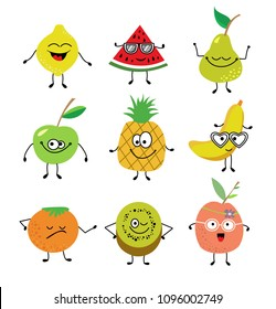 Cartoon funny fruits characters. cute faces