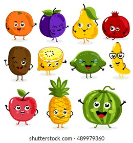 Cartoon funny fruits characters and fruits face isolated on white background vector illustration. Funny fruit face and cartoon fruit characters icon vector set. Cartoon characters. Cartoon face food.