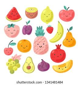 Cartoon funny fruits with face.  Banana, pineapple, kiwi, pear, apple, cherry, melon, lemon, plum, grapes, orange, avocado. Cute vector illustrations isolated on white background.