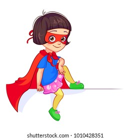 Cartoon funny girl in Super Hero costume with red mask and cloak sits in relaxed pose on big white banner, leaning elbow on knee and hanging leg. Cutout vector Super Girl character with billboard.