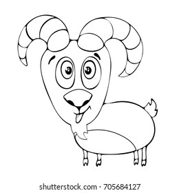 Cartoon funny goat for coloring book isolated on white background, vector black and white hand drawing, monochrome illustration
