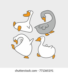 Cartoon funny goose. Vector illustration of a bird.