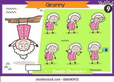 Cartoon Funny Granny Character Various Action and Concepts Vector Set