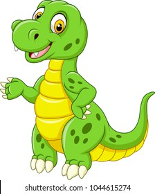 Cartoon funny green dinosaur