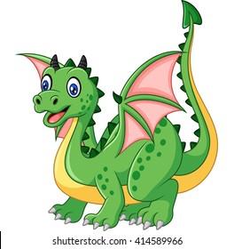 Cartoon funny green dragon