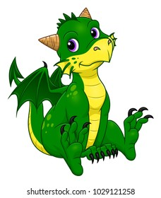 Cartoon funny green dragon on the white background.