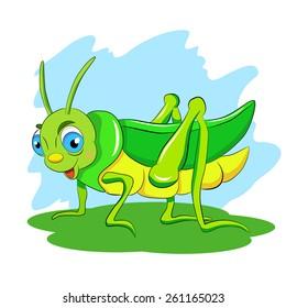 Cartoon funny green grasshopper.
