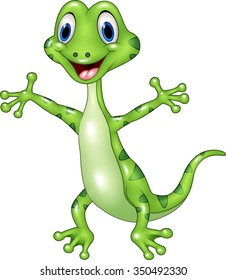 Cartoon funny green lizard posing isolated on white background