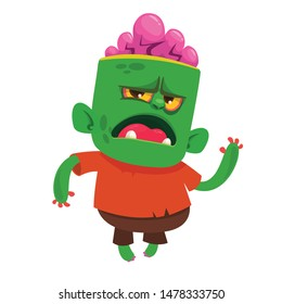 Cartoon funny green zombie. Halloween vector illustration of zombie creature.