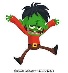 Cartoon funny green zombie jumping and dancing. Halloween vector illustration of zombie creature.