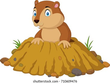 Cartoon funny groundhog standing outside its burrow