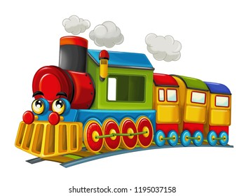 Cartoon funny and happy looking steam train - isolated - vector illustration for children