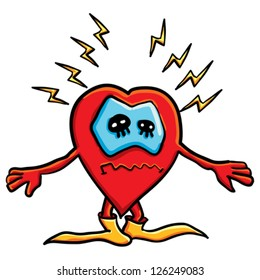 Cartoon  funny heart  on the white background