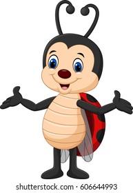 Cartoon funny lady bug isolated on white background