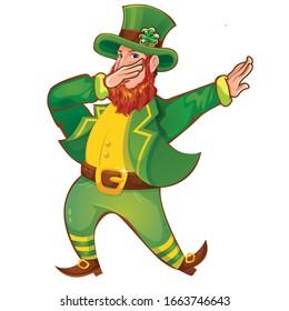 Cartoon Funny Leprechaun Dab Vector Design T-Shirt Design.Green costume.Vector illustration.
